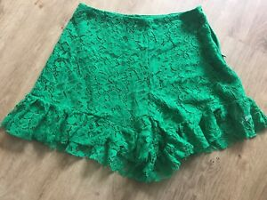Zara Green Lace shorts Skirt Size S Green Going out evening shorts Green Lace