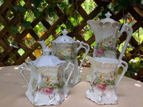Germany Water Lily Chocolate Pot Teapot Sugar and Creamer