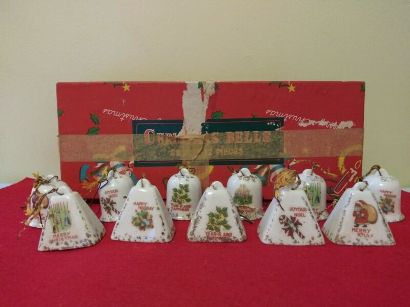 Vintage Set of 11 Porcelain Mini Christmas Bell Ornaments (1 1/2 in. tall) Japan