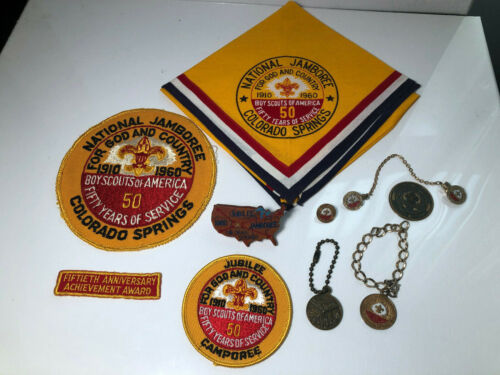 Boy Scout 1960 Jamboree Lot: Neckerchief, Slide, Patches Keychain Coin Jewelry
