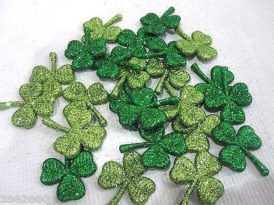 (24) St Patricks Day Green Glitter Shamrocks Tabletop Decor - St Patricks Decorations