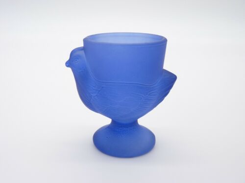 Antique Frosty Cobalt Blue Chicken Shaped Egg Cup Made In France