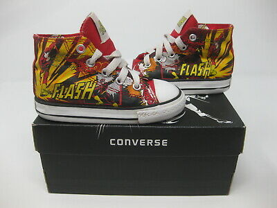 Kids Converse Shoes Cheap (Rare The Flash DC Comic Hi Top All Star Converse Red Yellow Sneaker Shoes Size)