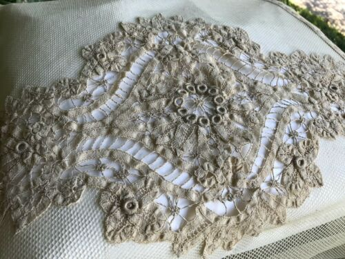 pair Victorian Batterburg lace  netting bedspreads coverlets Never Used pristine