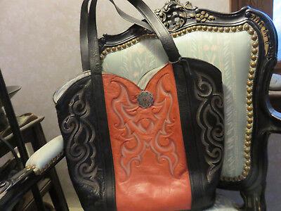 Vintage ERDA Western Boot Design Leather Handbag/Tote w Sunglass Case (Boots Designer Sunglasses)