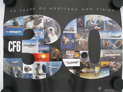 GE CF6 General Electric 30 Year Aircraft Engine Poster Old Vtg Airline Air Force