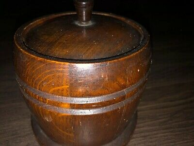 Collectable Vintage Treen Oak Lidded Tobacco Jar Ceramic Lined. Made In England
