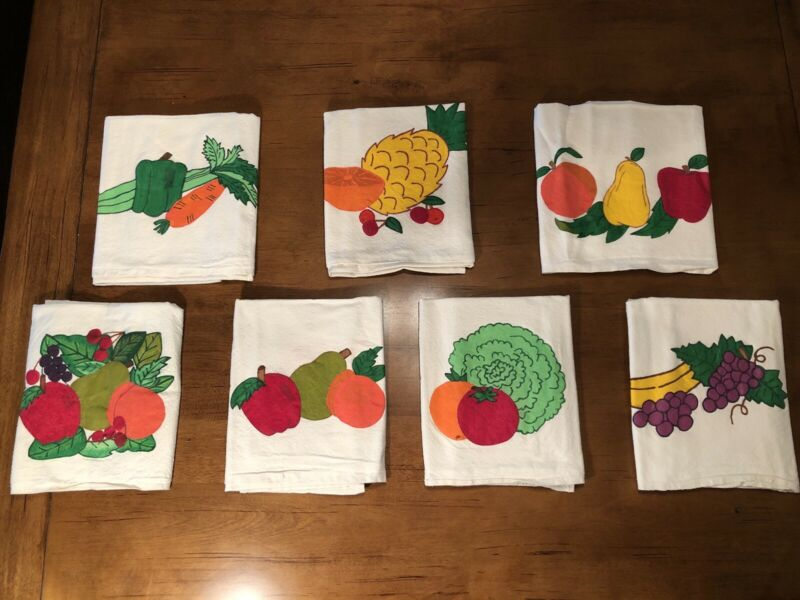 Vintage Hand painted Tea Dish Towels -Fruit-Set of 7-AS IS (See description*)