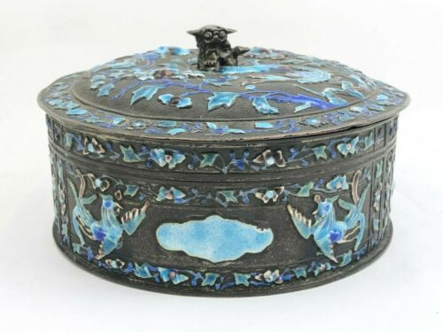 Chinese Enamel Silver Box With Birds & Foo Dog Finial