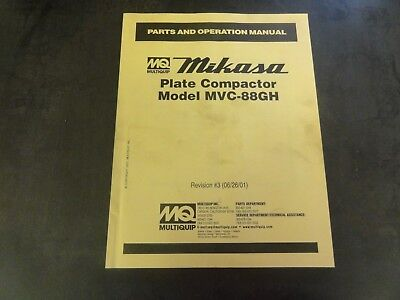 Multiquip Mikasa Model Mvc-88gh Plate Compactor Parts And Operation Manual