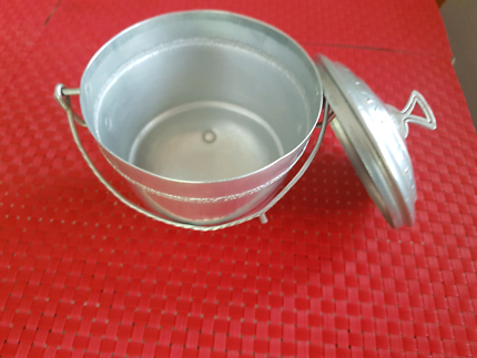 Charming Vintage aluminium silver Sugar Bowl