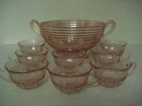 "VINTAGE 9"" ANCHOR HOCKING PINK DEPRESSION GLASS PUNCH BOWL W/8 CUPS--Chips"