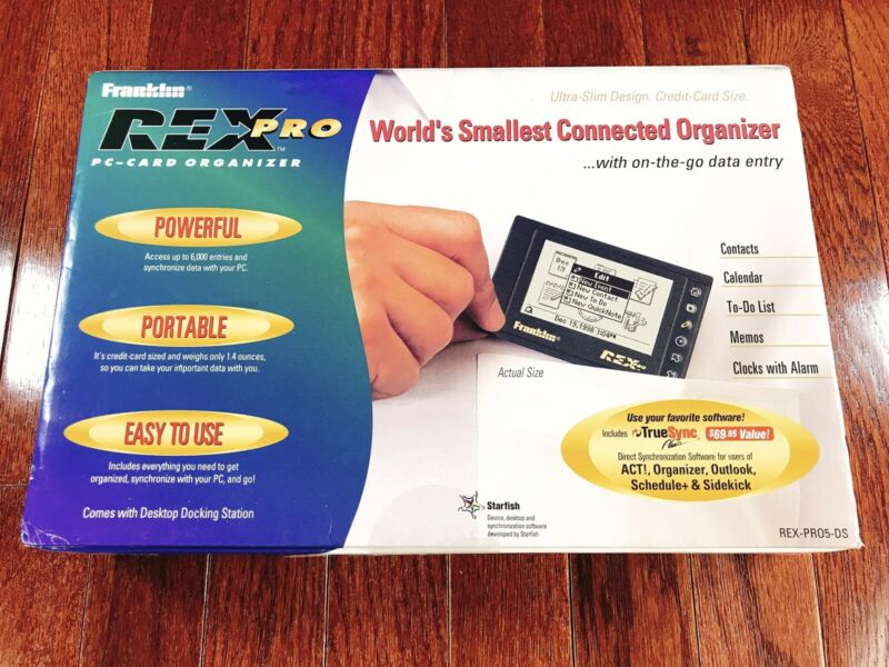 Franklin Rex Pro - PC Card Organizer, PDA, New, Sealed, Vintage 1997, 90