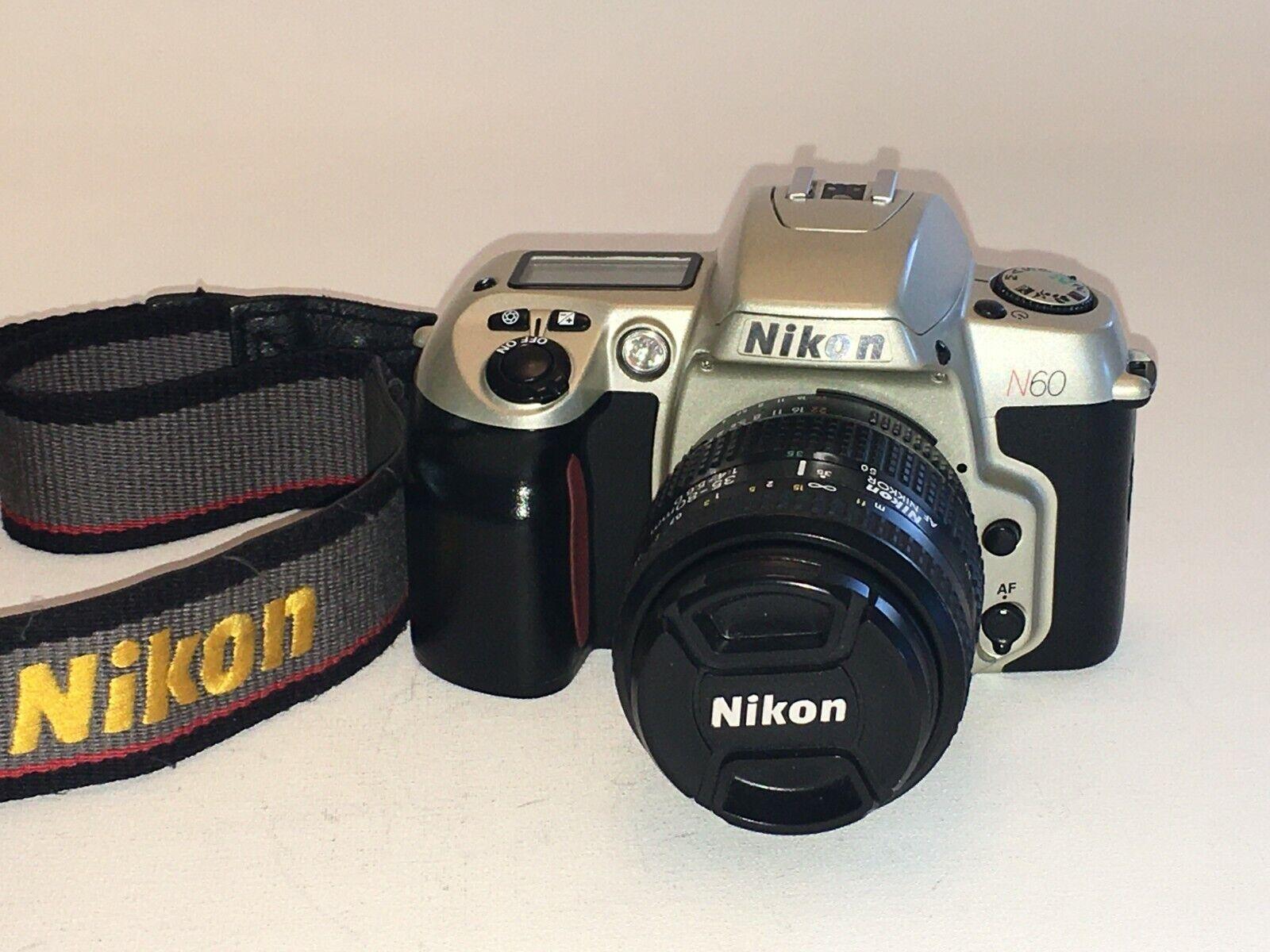 Nikon N60 35mm SLR Film Camera With 35-80 Mm Lens Strap Attn Film People - $49.95