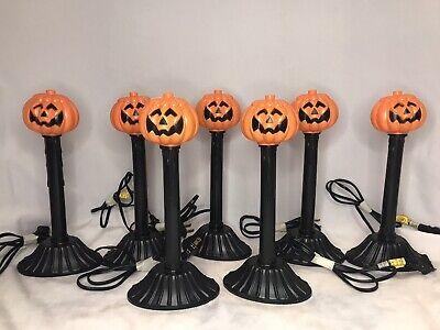 7 Vintage Halloween Pumpkin Blow Mold Electric Candle Light