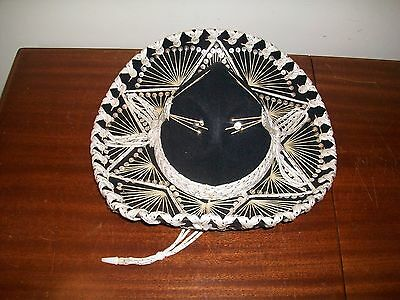 Black white and silver Mexican sombrero from mexico](Black And White Sombrero)
