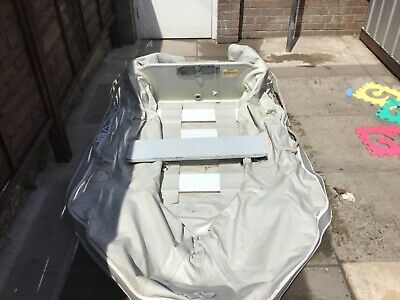 Quicksilver grey Inflatable dinghy 3 man wooden transom Up to 5hp