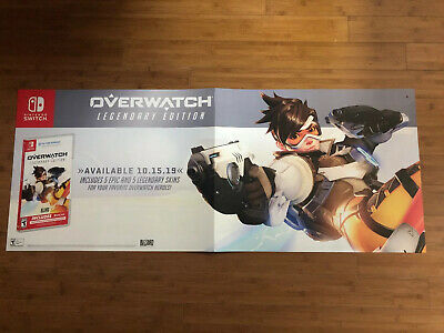 "Overwatch 52""x21"" Poster Gamestop Promo Huge Rare Double Sided"