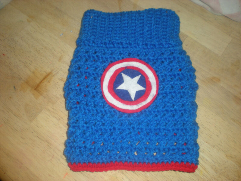 CROCHETED CAPTAIN AMERICA   DOG SWEATER IN LARGE