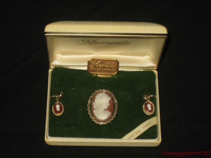 Vintage KREMENTZ 14K Gold Overlay Shell CAMEO Screwback Earrings & Pin / Brooch