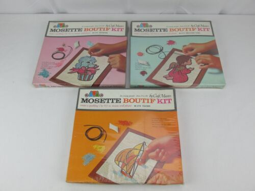Vintage 1965 Craft Master Mosette Boutif Kit Wall Plaque Lot of 3 NOS Sealed