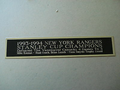 New York Rangers 93-94 Stanley Cup Nameplate For A Hockey Jersey Case 1.5 X 8