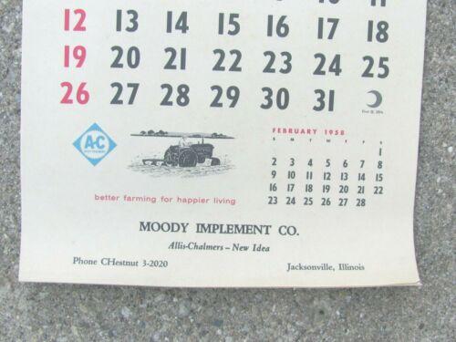 1958 ALLIS CHALMERS DEALER CALENDAR MOODY IMPLEMENT CO JACKSONVILLE IL NEW IDEA