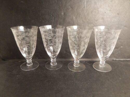 "Vintage Fostoria Chintz Elegant Etched Iced Tea Glass 6"" Set of 4"