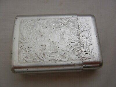 vintage Park Industries Engraved Aluminum 2 Piece Cigarette Case