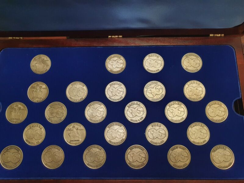 1983 S.S.ROTTERDAM SOUVENIR SILVER JUBILEE WORLD CRUISE COMPLETE MEDALS SET BOX