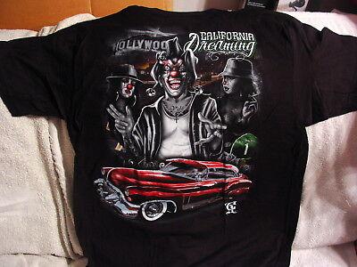 JOKER CLOWN GIRL WOMAN CAR LOWRIDER HOLLYWOOD CALIFORNIA DREAMING T-SHIRT SHIRT](Joker Girlfriend)