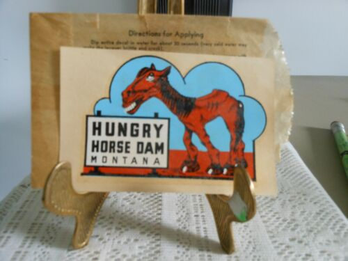 Vtg Souvenir Decal:  Hungry Horse Dam Montana Decal with Paper Sleeve