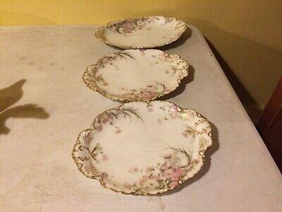 Haviland Limoges Set of 3 RARE Feu de Four  Serving Tray Platters Floral's Gold  Haviland Limoges Set