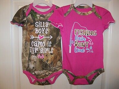 RealTree Camo Pink 2 Pack One Piece Bodysuit Baby Girl Size 12 Months NWT Infant Realtree Camo