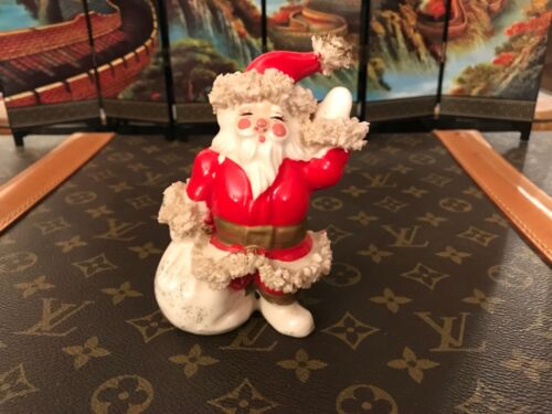 "ADORABLE VINTAGE 50s Waving SANTA Spaghetti Trim 5"" Figurine with toy bag"