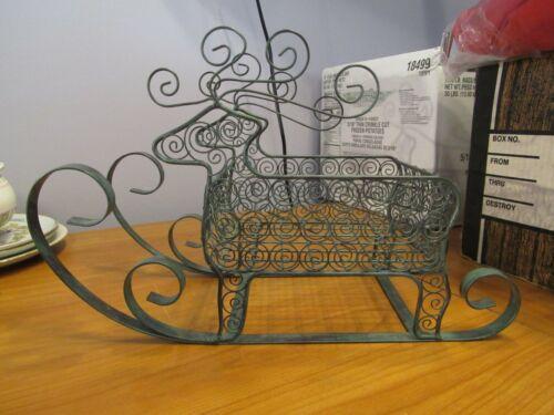 Metal Christmas Winter Reindeer Sleigh Centerpiece Table Mantel Decor