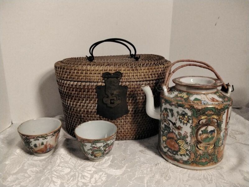 ANTIQUE CHINESE PORCELAIN TEA SET WICKER BASKET
