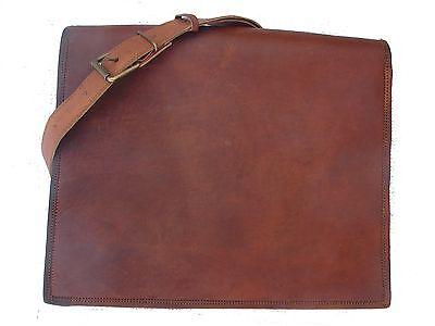 """New Genuine Vintage Leather Messenger Bag Shoulder Laptop 15"""" Full flap Bag"""