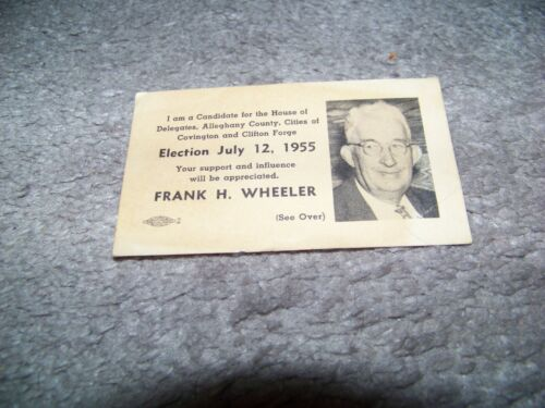 1955 Frank H Wheeler House of Delegates Alleghany County Covington Clifton Forge