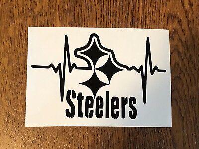 Pittsburgh Steelers Colors (Pittsburgh Steelers heartbeat Vinyl Car DECAL Window sticker yeti YOU PICK)