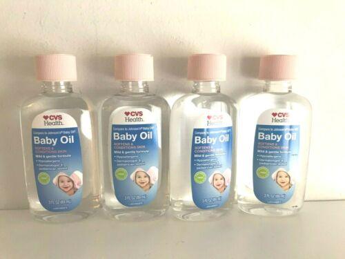 LOT OF 4 CVS HEALTH BABY OIL 3 FL OZ Hypoallergenic