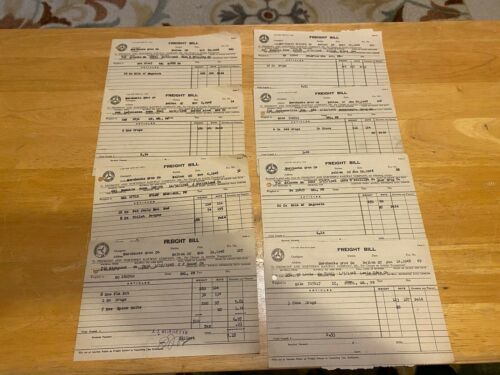 Vintage Ephemera – 1948 Piedmont & Northern Railway Freight Bills – Lot Of 8