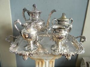 ANTIQUE LATE VICTORIAN HAND CHASED TEA SET w GORHAM TRAY