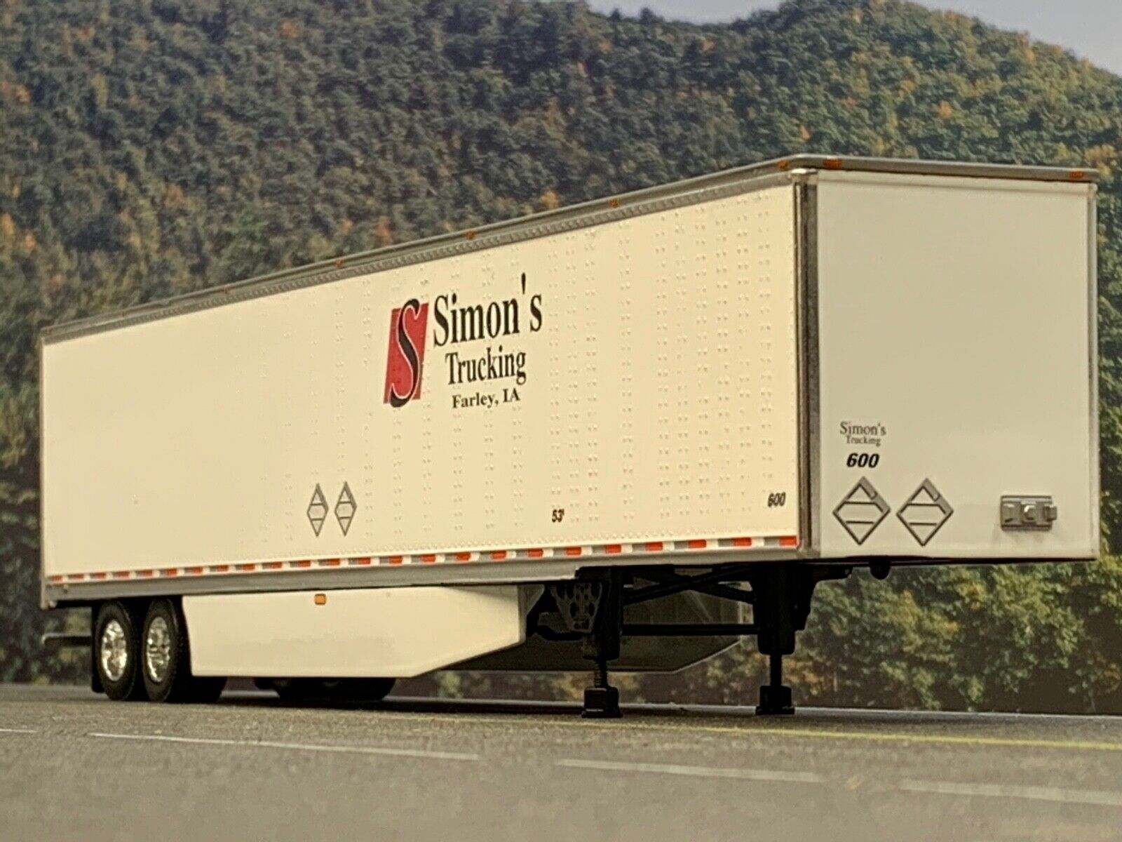 1/64 DCP SIMON'S TRUCKING  53' UTILITY 3000D-X DRY VAN TRAILER W/ WIND SKIRTS