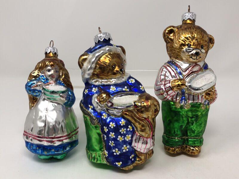 Vintage 1997 Hand Blown Glass Ornament Set - Goldilocks & the 3 Bears POLAND