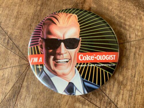 Vintage MAX HEADROOM Coca-Cola Promo PIN Pinback Button I'm a Coke-Ologist 1986