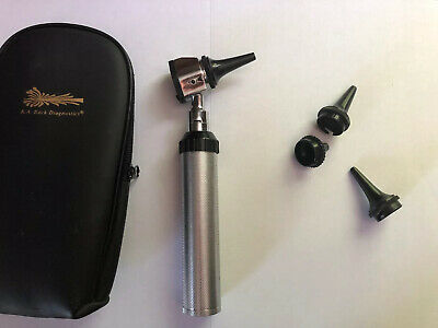 R.a. Bock Diagnostic Kit Led 3.2v Otoscope Ophthalmoscope In A Faux Leather Case