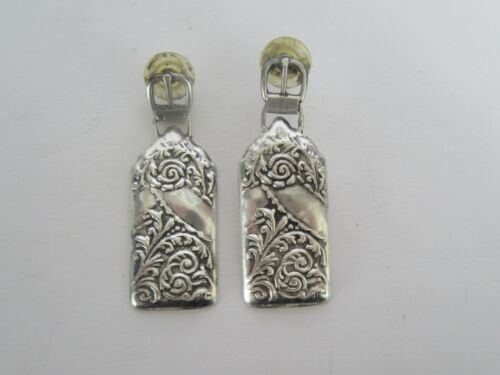 Vintage REO Repousse Luggage Tag Sterling Silver Earrings