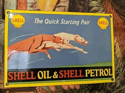 OLD VINTAGE DATED 1932 VINTAGE SHELL OIL PORCELAIN ENAMEL GAS PUMP METAL SIGN