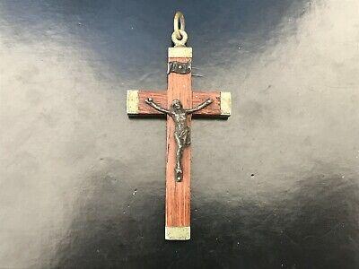 Pendant Religious cross Antique Jesus Christ Wood and Metal Heavy - REF51542
